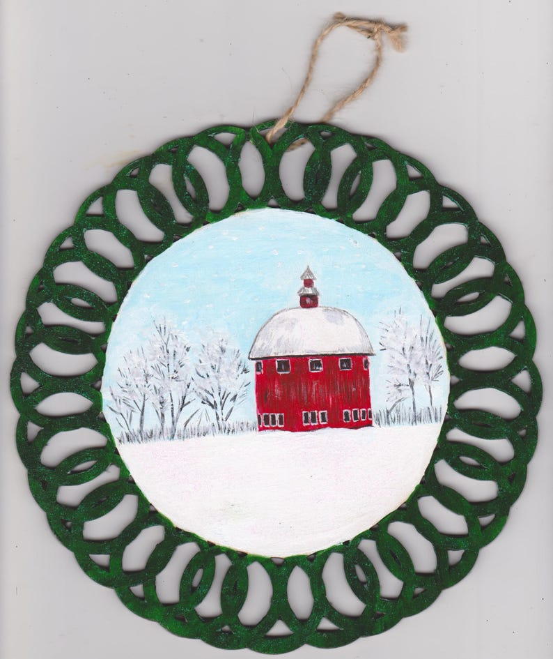 Round Wood Barn Christmas Ornament Acrylic Painting Wall Tree Decoration Winter Scene Tee Ornament