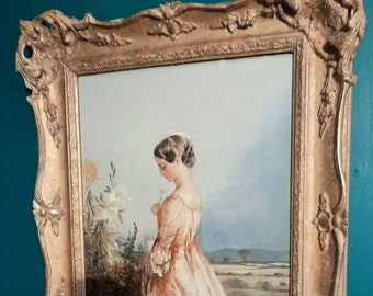 """Superb Antique Oil Painting On Canvas - By Famous British Artist """"Alfred Joseph Woolmer"""" (1805–1892) - In An Original Ornate Gilt Frame"""