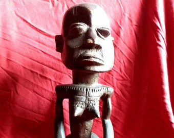 """Rare African """"Lulua"""" Wooden Tribal Fertility Sculpture From The Congo, late 19th Century"""