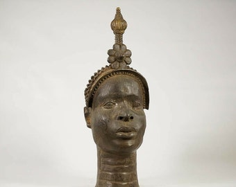 Very Large (19 Inch) And Heavy (approx. 5 kilos) Antique African Benin Bronze Head, possibly late 19th Century..With A Wonderful Dark Patina
