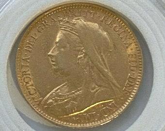Half Sovereign 1897 Queen Victoria - Genuine Antique Gold Coin - 4 Grams 22 Ct Gold