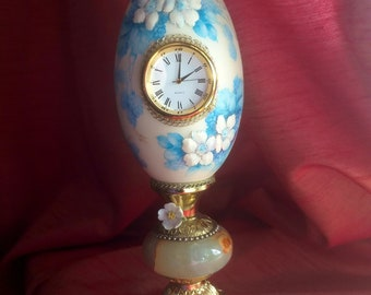 Stunning Vintage (or Antique) Handpainted Goose-Egg - With Clock And Music-Box
