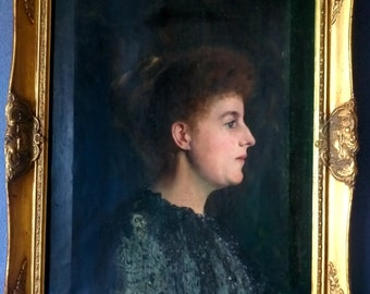 Large Antique Portrait Oil Painting Showing A Charismatic Victorian Lady - On Canvas - Framed & Ready To Hang