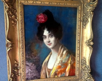 """Original Oil On Canvas Portrait Painting Showing The Legendary Dancer """"Saharet"""" (Clarissa Rose Campell) - Framed & Ready To Hang"""