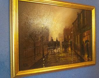 Superb Original Oil On Canvas Impressionist Painting By British Artist Barry Hilton: Victorian Night Street Scene - Framed