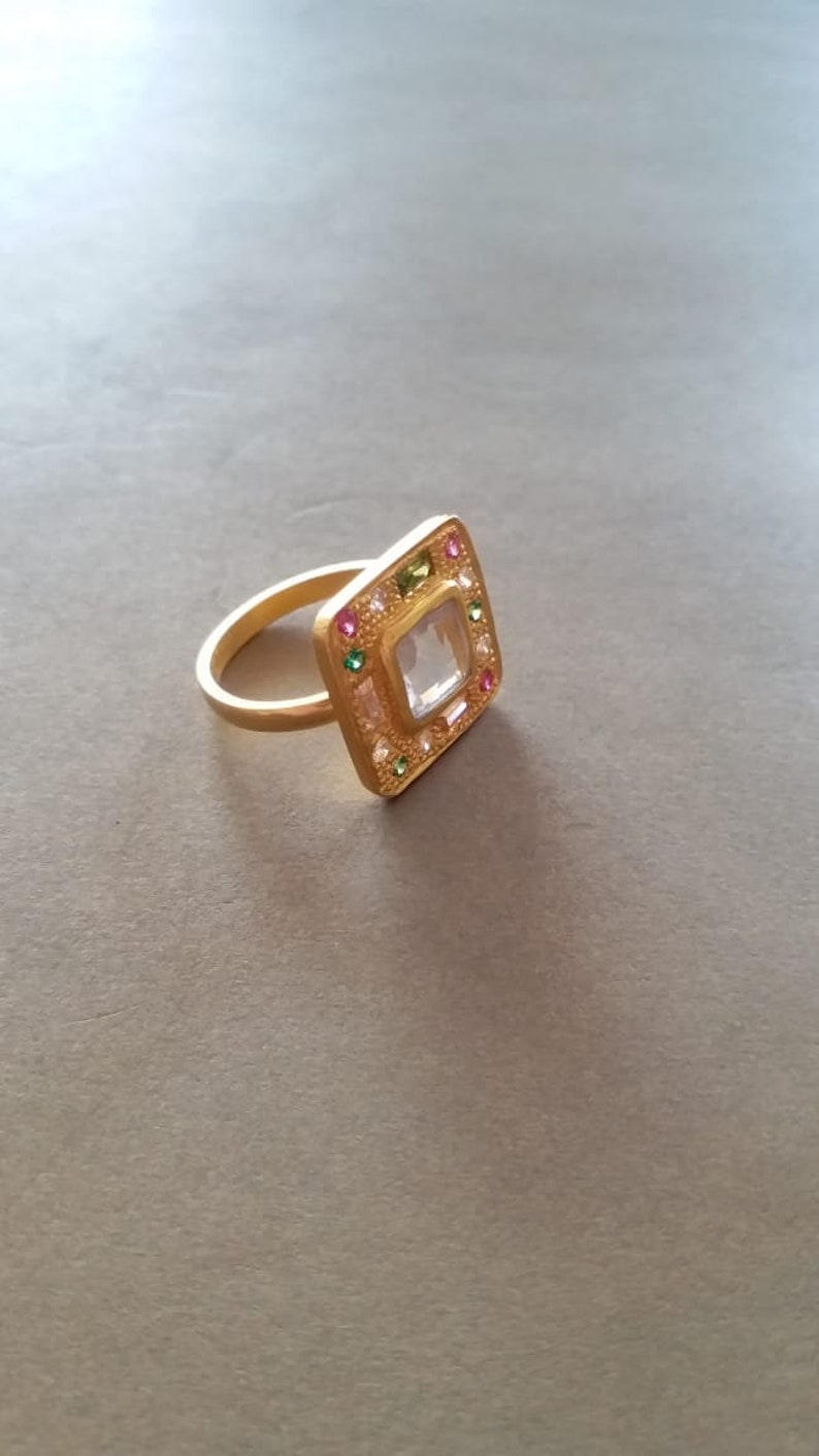 Baguette Cut Gemstone Ring Multi Gemstone Square Ring Gold Filled Ring Victorian Ring Jewelry Designer Cocktail Ring Christmas Gift
