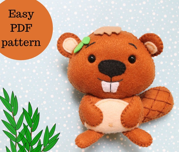 Beaver Kawaii Plushie Diy Felt Pattern Felt Stuffed Animals Etsy