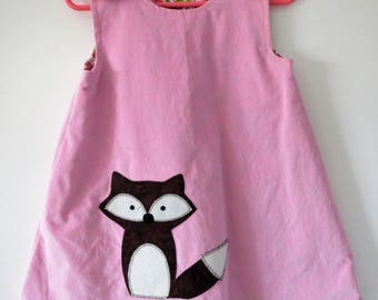 Girl, 2-3T Reversible Jumper Dress/Tunic. Pink corduroy with fox applique reverse pink/green plaid