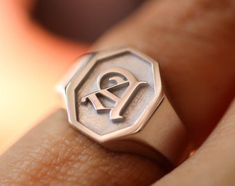 Initial Engraved Signet Ring, Custom Signet Ring, Silver Signet Ring, Initial Signet Ring, Sterling Silver Signet Ring, Engraved Signet Ring
