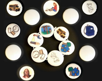 Autism picture schedule. This one acrylic bead is part of our portable and wearable visual schedule photo bracelet. Customizable with images