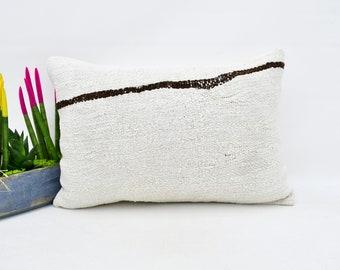 Hemp Pillow Lumbar Pillow Kilim Pillow Wool Pillow Pillows Handmade Pillow Cover Throw Pillow Outdoor No 3001 16x24 pillow cover
