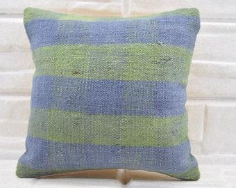 red and blue striped kilim pillow cotton kilim pillow decorative kilim pillow kelim kissen ethnic pillow 16x16 anatolian pillow   2492