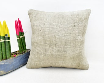 Sofa Kilim Pillow Throw Pillow No 4880 18x18 Pillow Cover Natural Plain Pillow Square Pillow Home Decor Pillow 18x18 Kilim Pillow