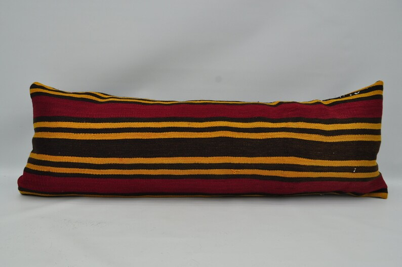 turkish kilim pillow kilim pillow 16x48 yellow striped kilim pillow bedroom pillow kelim kissen lumbar pillow king size pillow No 391