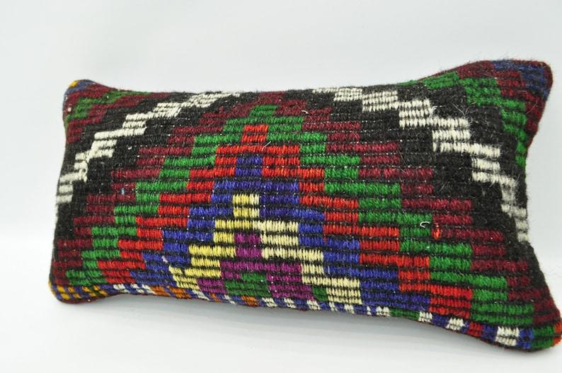 kilim pillow embroidered kilim pillow 12x24 Turkish kilim pillow lumbar pillow vintage kilim pillow kelim kissen boho pillow No 1871