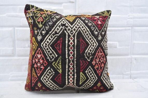 coussin ethnique 16 x 16 aztèque kilim coussin canapé coussin brodé kilim coussin kilim géométrique coussin turc kilim coussin kelim kissen N° 2521