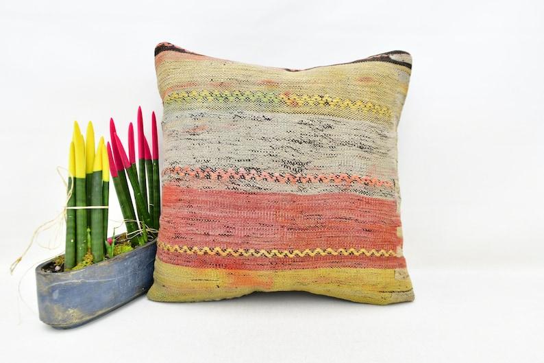 Sofa Pillow 20x20 Kilim Pillow Cover Kilim Pillow No 3525 Faded Kilim Pillow Home decor Striped Vintage Pillow Authentic Cushions