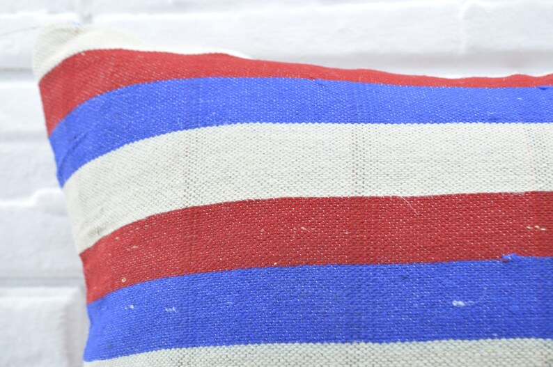 red striped kilim pillow antique kilim 20x20 kilim pillow bohemian kilim pillow cushion case anatolian kilim  cover pillow No 1838