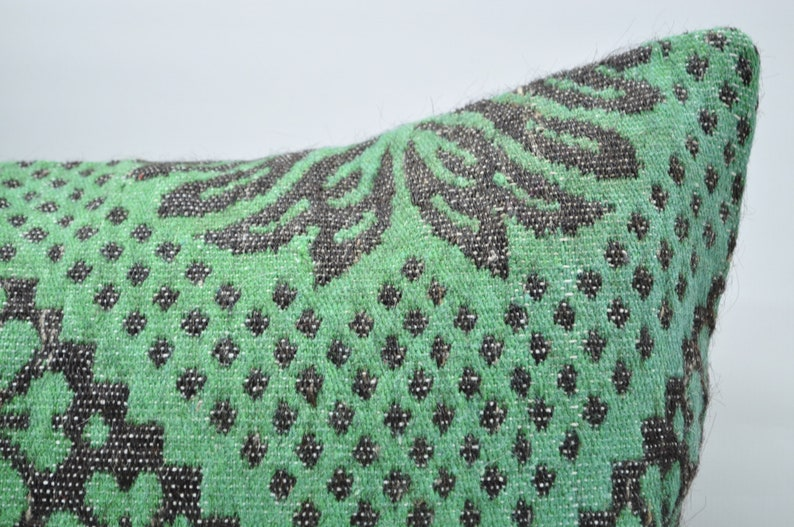 turkish kilim pillow kilim pillow 16x48  lumbar pillow sofa pillow ethnic pillow  king size pillow green patterned kilim pillow No 513