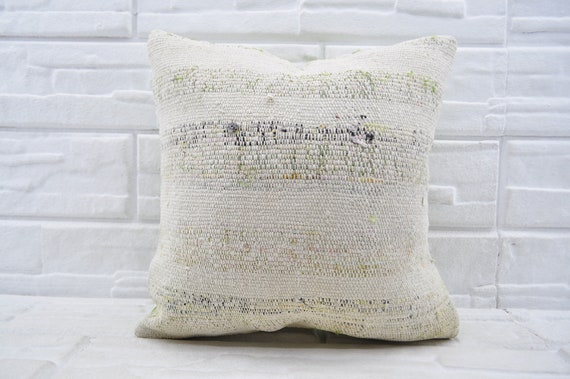 Coussin turc Kilim, 18 x 18 rustique oreiller, oreiller rayée, jeter oreiller, housses de coussins, oreiller à la main, blanc oreiller, oreiller doux pas 2397