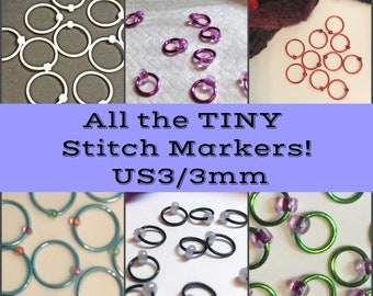 All the TINY Stitch Markers!  US3/3mm