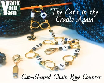 The Cat's in the Cradle Again -- Cat-Shaped Chain Knitting Row Counter