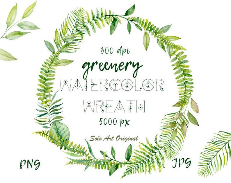 Clip Art Greenery Wreath Png Jpg Wedding Invitation Clipart Etsy