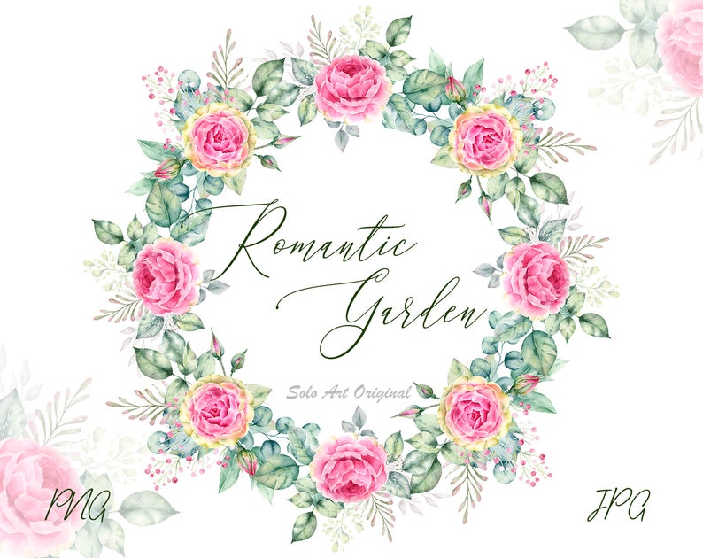 Wedding Floral Wreath with pink flowers Watercolor frame PNG JPEG Greenery  Leafy Roses Clipart Wedding invitation Greeting card Scrapbooking