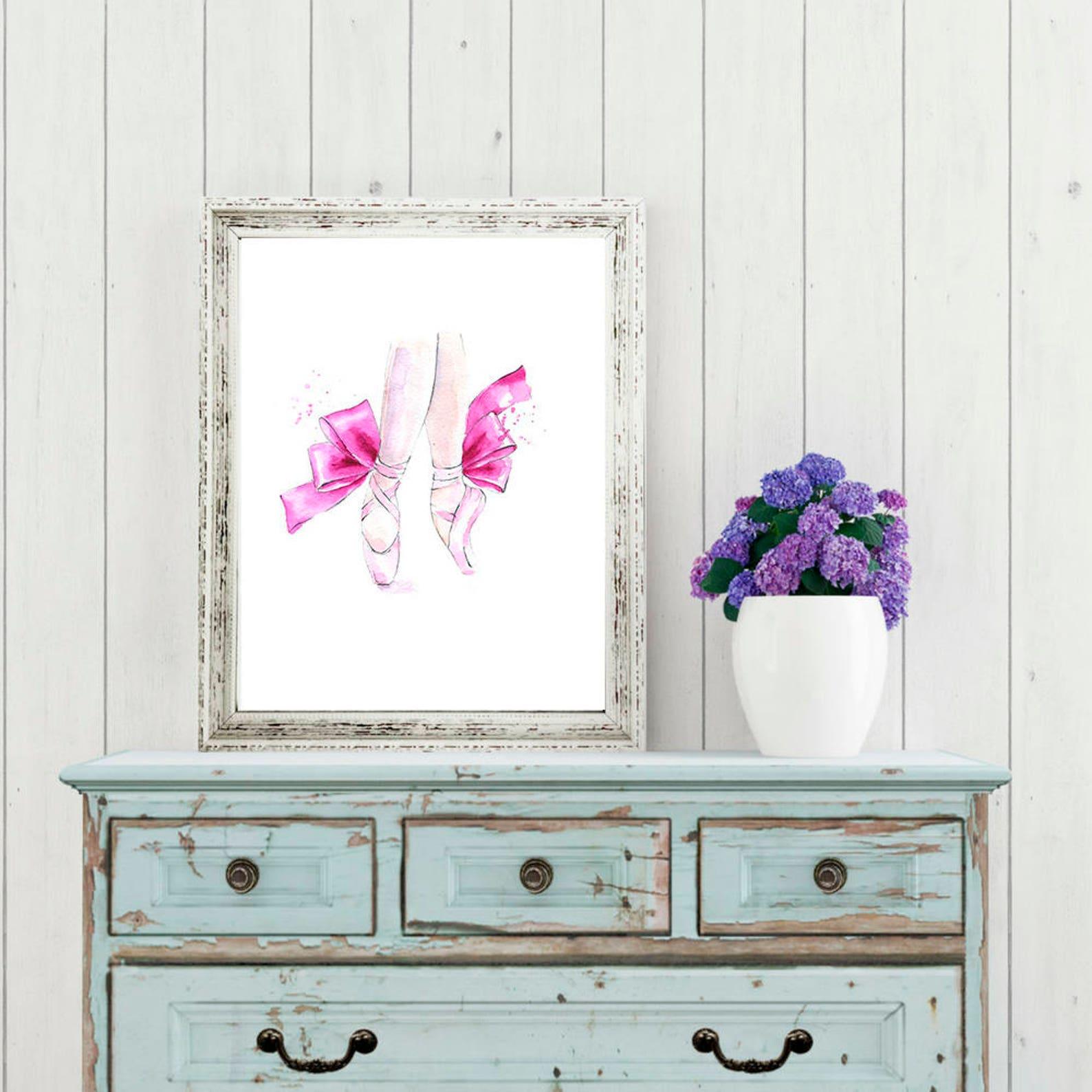 ballerina shoes watercolor original painting girls nursery wall art pink blush wall decor printable poster digital print ballet