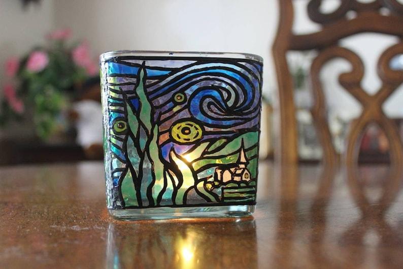 Van Gogh/'s Starry Night Candle jar Votive