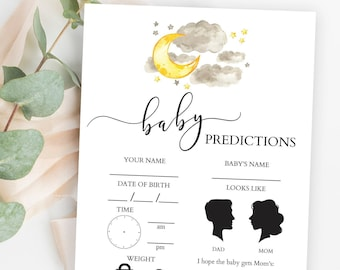 Baby Predictions Card, Gender Reveal Baby Predictions, Gender Neutral Baby Shower Games, Moon and Stars Theme, Love You to the Moon and Back