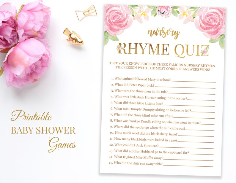 Old Wives Tales for Gender Reveal, Floral Gender Reveal Game, Bohemian Baby  Shower, Printable Pink and Gold Games for Girl Baby Shower