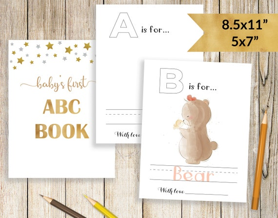 picture relating to Printable Abc Book Template known as ABC E-book Boy or girl Shower, Babys Initially ABC Ebook Blank, ABC E book Template do-it-yourself, Printable Coloring Web pages Kid Shower Game, Boy or girl Shower Drawing