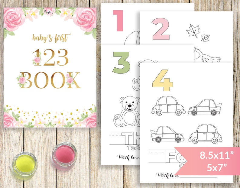 Baby S First Numbers Book Baby Shower Coloring Book Number Coloring Pages Storybook Baby Shower Baby S 123 Coloring Book Printable