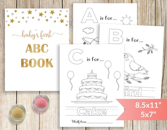 Baby S First Alphabet Book Baby Shower Abc Book Printable Baby Shower Coloring Pages Baby Shower Coloring Book Activity And Game