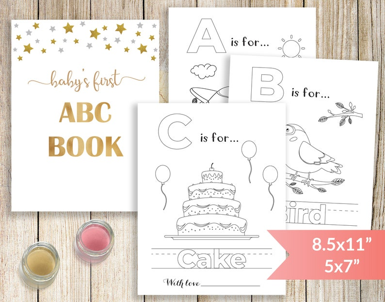 photo relating to Abc Book Printable called Babys 1st Alphabet E book, Child Shower ABC Guide, Printable Child Shower Coloring Web pages, Little one Shower Coloring Reserve Game and Video game