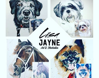 A2 size Pet commissions - watercolour paintings, Dogs, cats, horses, rabbits, any pets! portraits gifts wall art decor