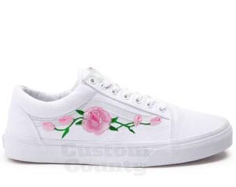 White Vans Old Skool Custom Pink Rose Embroidered Shoes-Vans Rose Shoes Floral  Vans-Custom Vans Rose Vans Old Skool Vans-Men Women Youth f541f228e