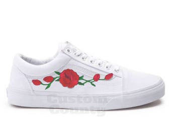 d223e22d8b6 White Vans Old Skool Custom Rose Embroidered Shoes-Vans Rose Shoes Floral  Vans-Custom Vans Rose Vans Old Skool Vans-Men Women Youth Sizes