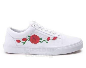 White Vans Old Skool Custom Rose Embroidered Shoes-Vans Rose Shoes Floral  Vans-Custom Vans Rose Vans Old Skool Vans-Men Women Youth Sizes 3086cd09f
