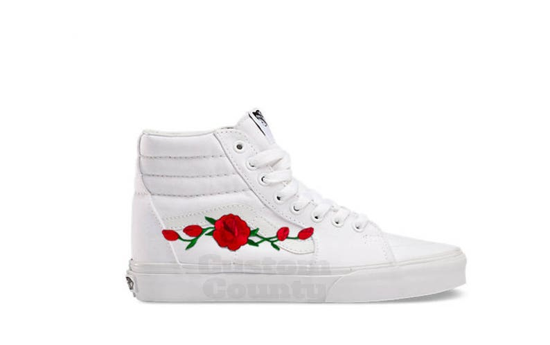664b0b61d9 White Canvas Sk8-Hi Custom Rose Embroidered Shoes-Vans Rose