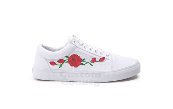 White Vans Old Skool Custom Rose Embroidered Shoes Vans Rose Shoes Floral Vans Custom Vans Rose Vans Old Skool Vans MenWomenYouth Sizes