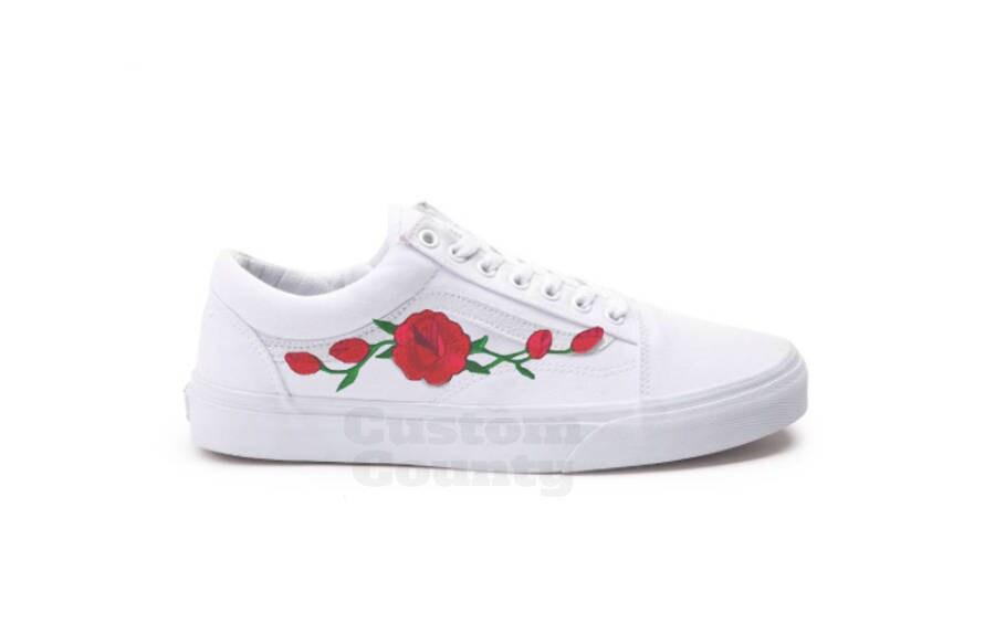 f953a741a012 White Vans Old Skool Custom Rose Embroidered Shoes-Vans Rose