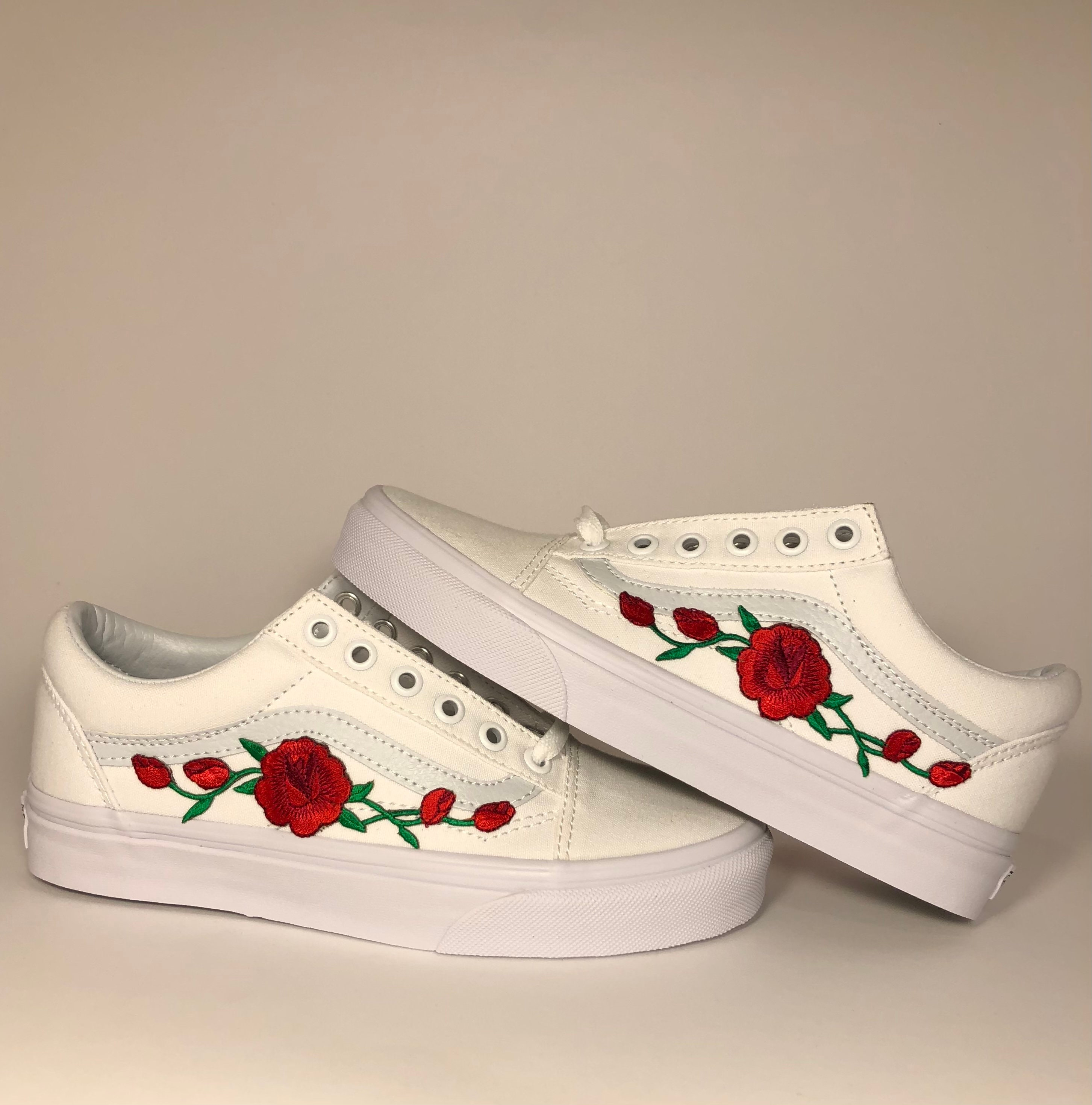 White Vans Old Skool Custom Rose Embroidered Shoes-Vans Rose Shoes Floral Vans-Custom Vans Rose Vans Old Skool Vans-Men/Women/Youth Sizes