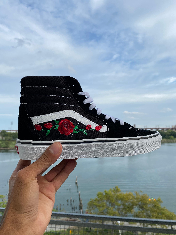 Old skool Vans, custom Vans Sk8 Hi, Vans old skool rose, custom rose Vans, embroidered Vans, Vans roses, floral Vans, Vans sneakers, Vans