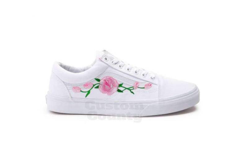 White Vans Old Skool Custom Pink Rose Embroidered Shoes-Vans Rose Shoes  Floral Vans-Custom Vans Rose Vans Old Skool Vans-Men/Women/Youth