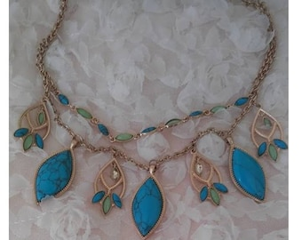 Jewelry, Unique Artisan Necklace, Green and Blue Turquoise, 2 Gold Toned Chains, Popular Southwestern  Style, Vintage, Estate Piece