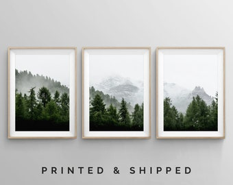 Mountain Wall Art, 3 Piece Art Prints, Set of 3 Forest Landscape Wall Art, Large Modern Minimalistic Wall Art Prints, Best Sellers Posters