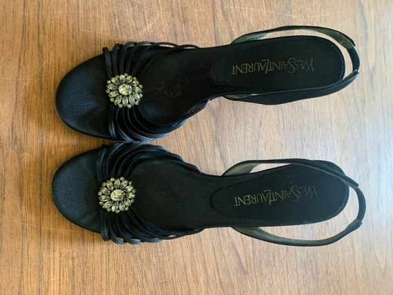 90s Vintage Yves saint Laurent black sandals- embe