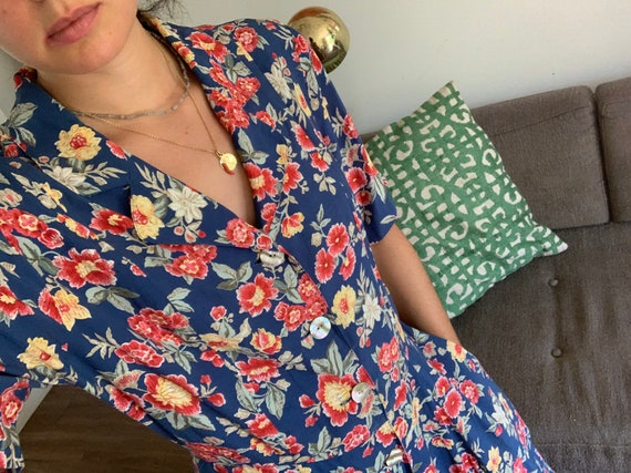 90s grunge floral dress/Blue and red floral shirt